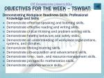 objectives for the week tswbat