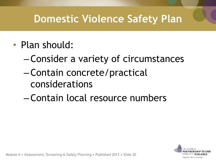 Domestic Violence Safety Plan