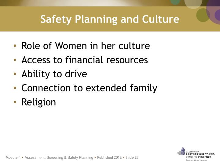 Safety Planning and Culture