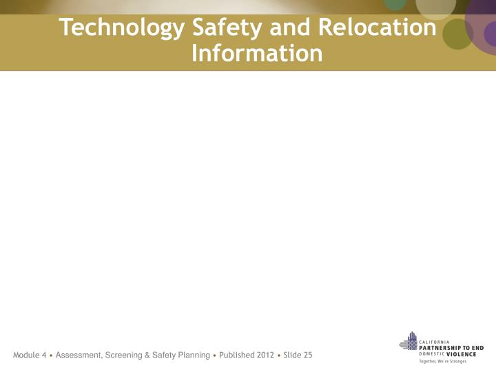 Technology Safety and Relocation Information