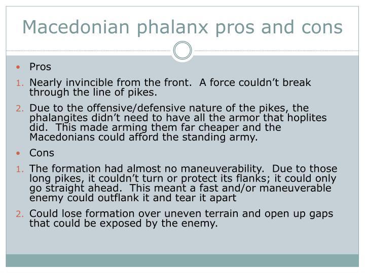 Macedonian phalanx pros and cons