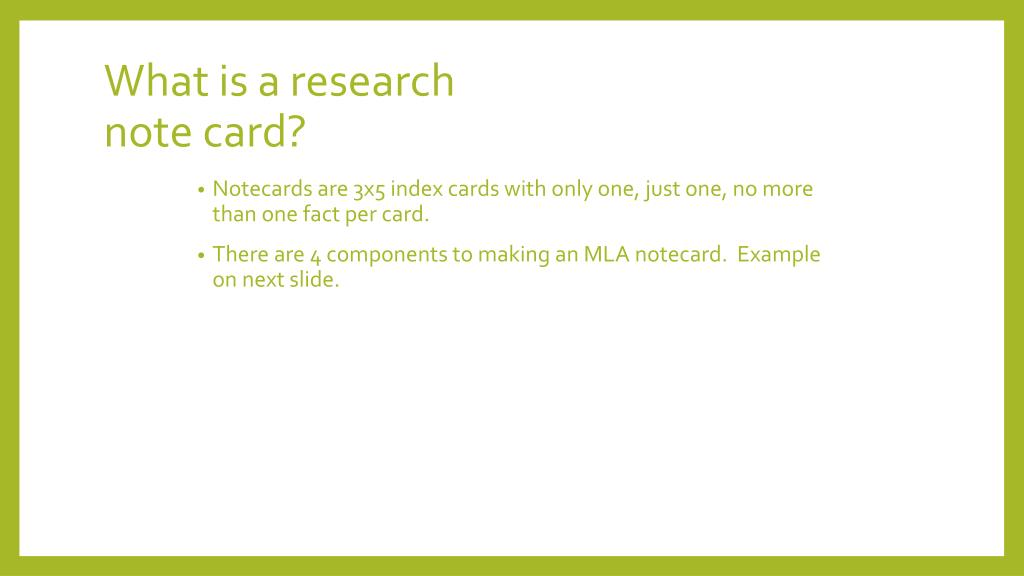 Ppt What Is A Research Note Card Powerpoint Presentation Free