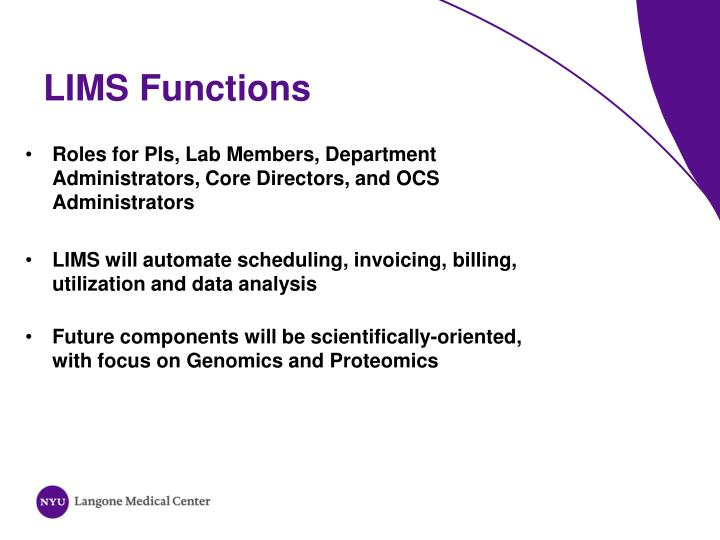 LIMS Functions