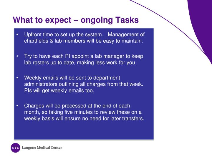 What to expect – ongoing Tasks