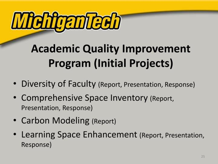 Academic Quality Improvement Program (Initial Projects)