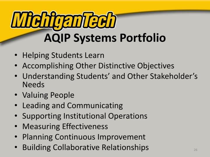 AQIP Systems Portfolio