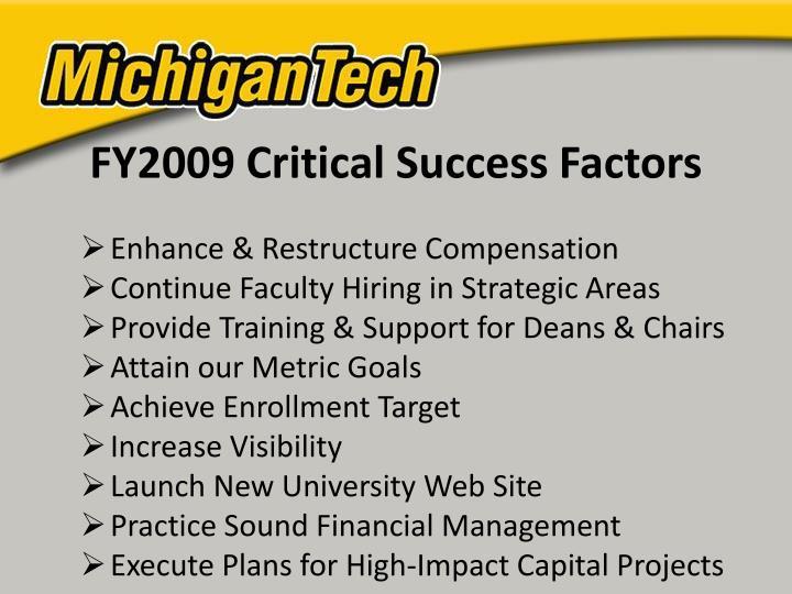 FY2009 Critical Success Factors