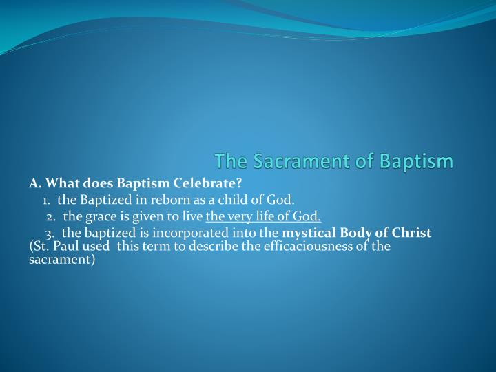 features of baptism essay Baptism among the early christians there appear to be two unique features that characterize writing a few years after tertullian's treatise on baptism.