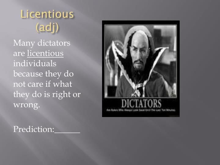 Licentious adj