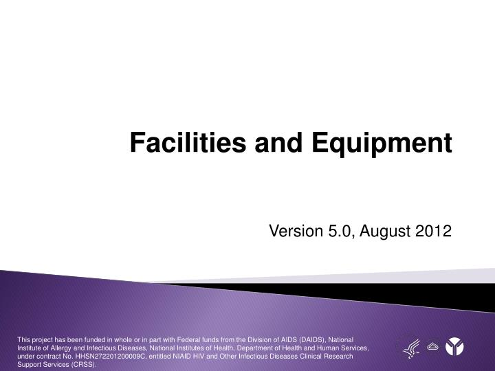facilities and equipment n.