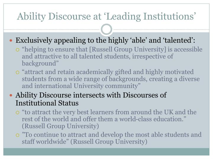 Ability Discourse at 'Leading Institutions'