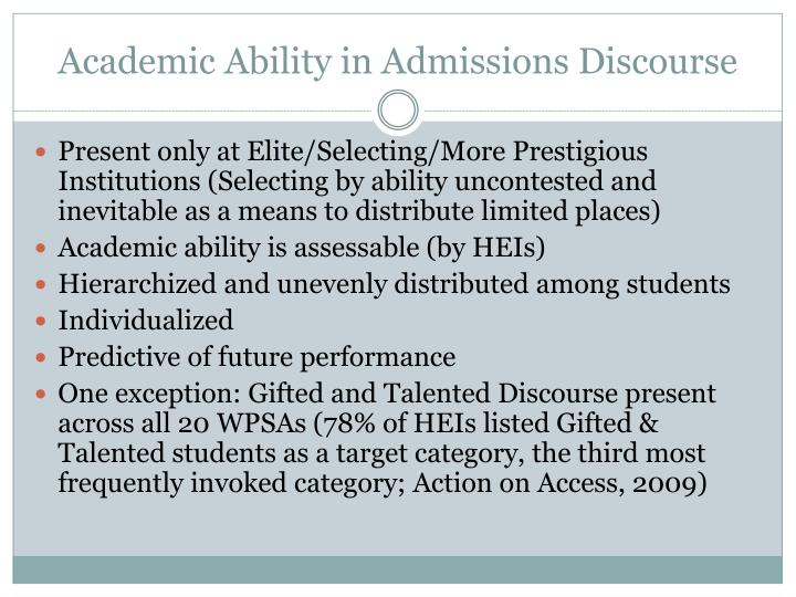 Academic Ability in Admissions Discourse