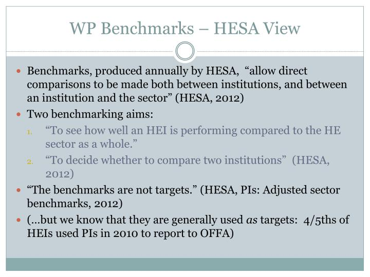 WP Benchmarks – HESA View