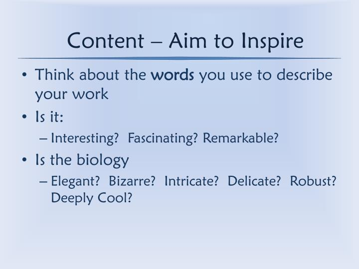 Content – Aim to Inspire