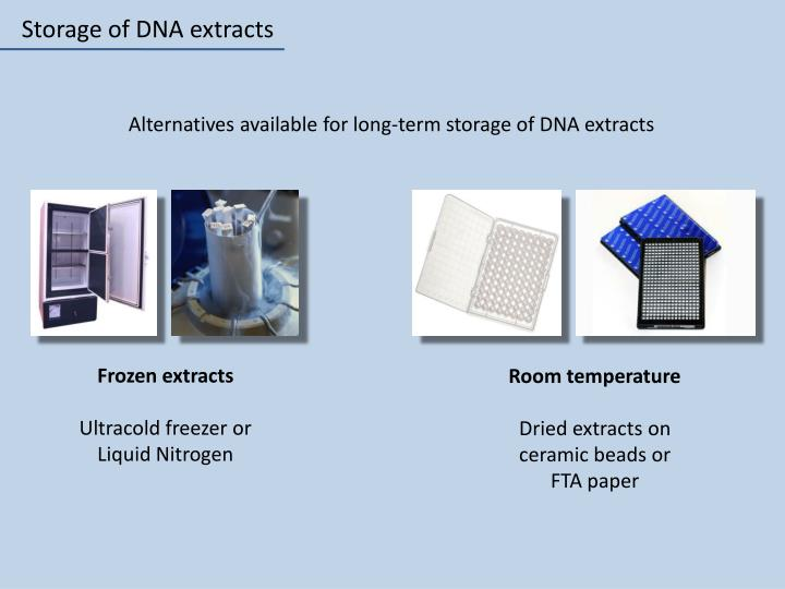 Storage of DNA extracts