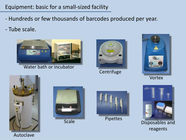 Equipment: basic for a small-sized facility