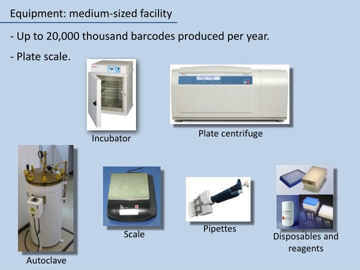 Equipment: medium-sized facility