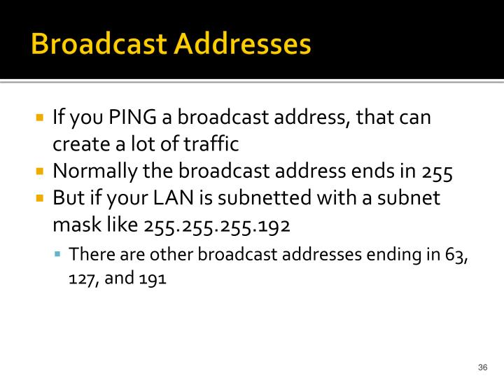 Broadcast Addresses