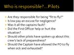who is responsible pilots