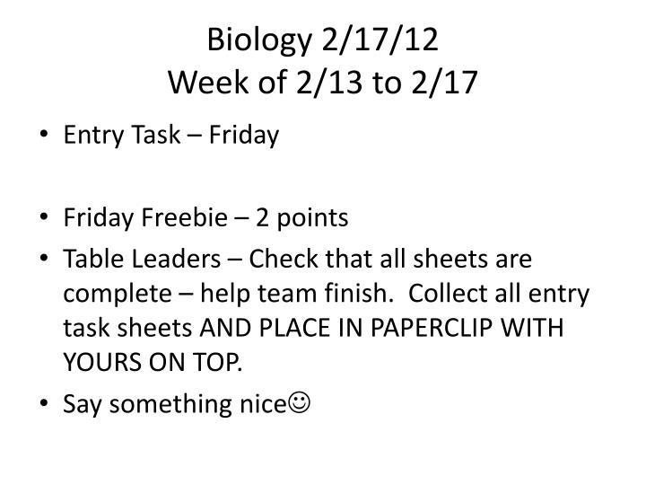 Biology 2/17/12