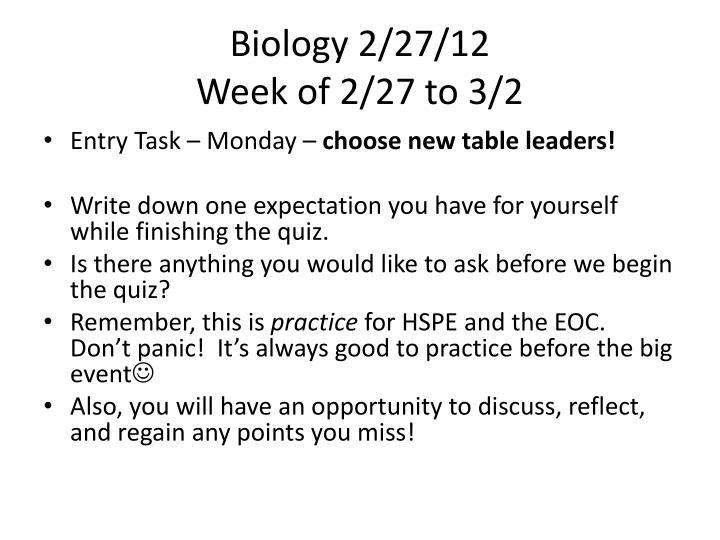 Biology 2/27/12