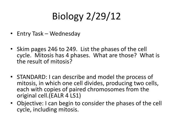 Biology 2/29/12