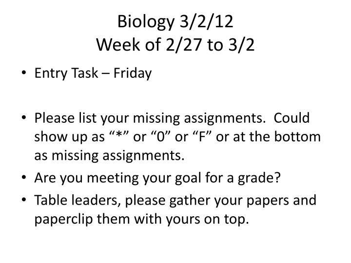 Biology 3/2/12