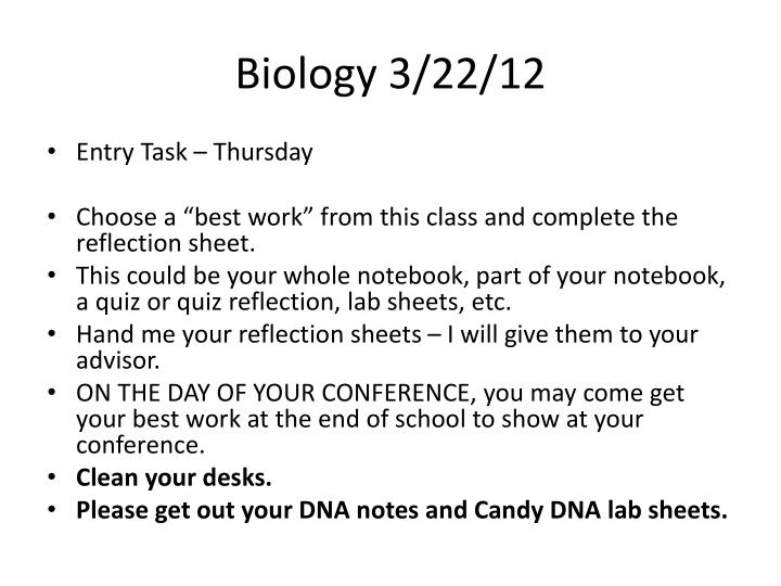 Biology 3/22/12