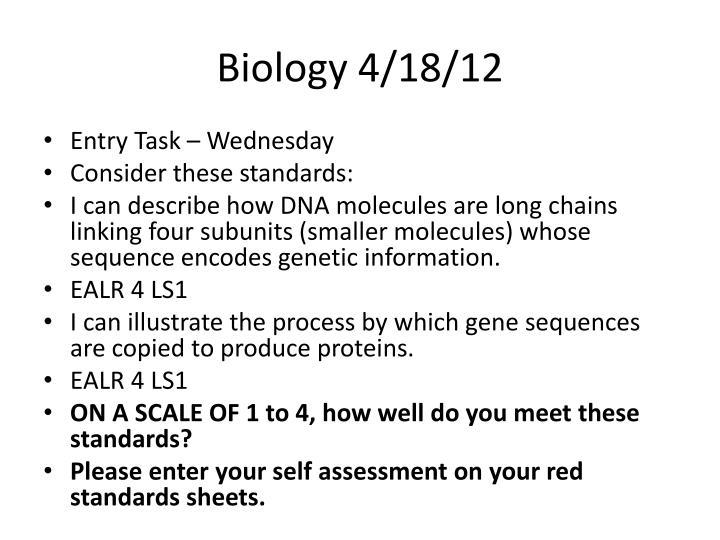 Biology 4/18/12