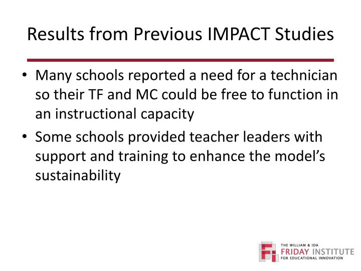Results from Previous IMPACT Studies