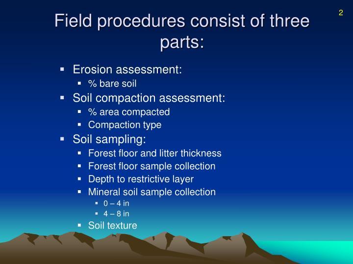 Field procedures consist of three parts