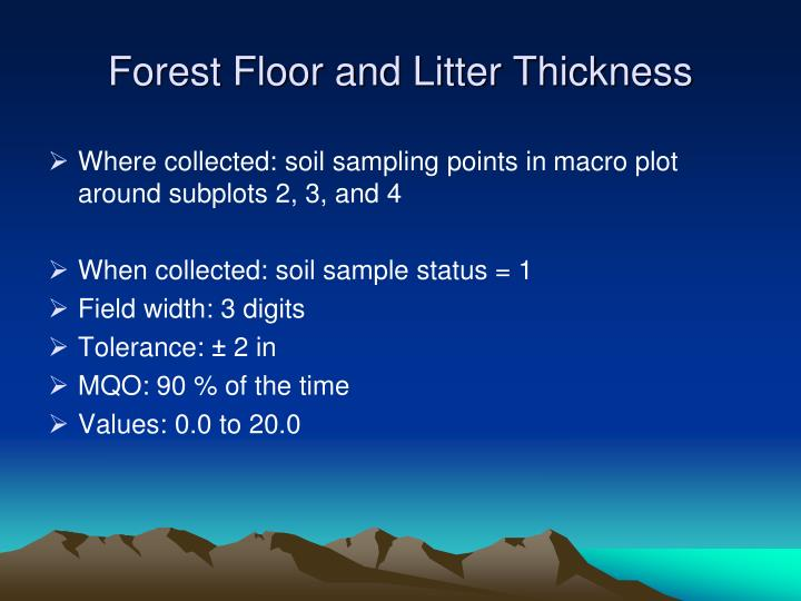 Forest Floor and Litter Thickness