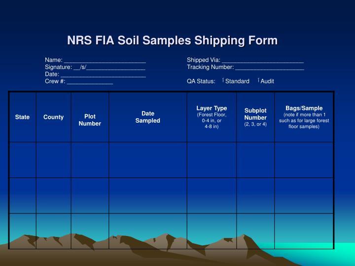 NRS FIA Soil Samples Shipping Form