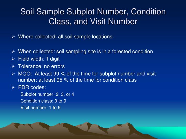 Soil Sample Subplot Number, Condition Class, and Visit Number