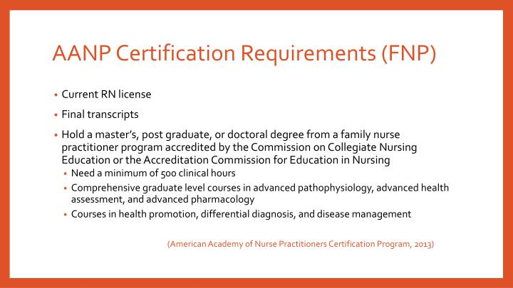 AANP Certification Requirements (FNP)