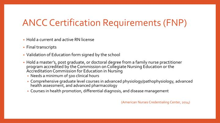 ANCC Certification Requirements (FNP)