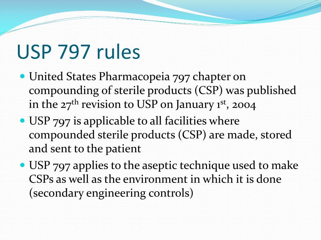 PPT - Aseptic Technique and USP 797 PowerPoint