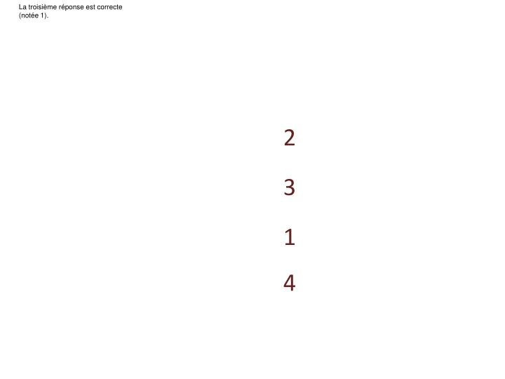 La troisième réponse est correcte (notée 1).