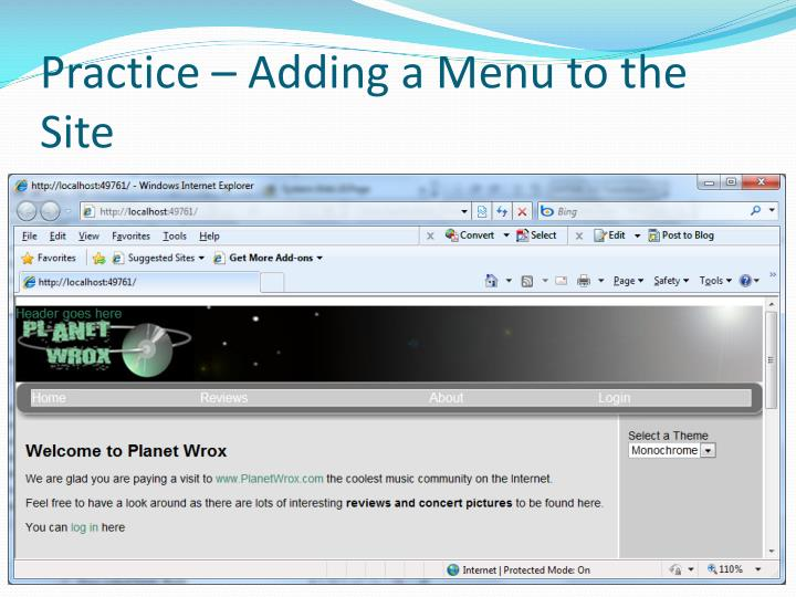 Practice – Adding a Menu to the Site