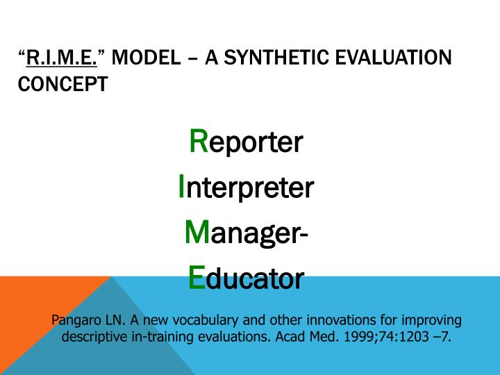 r i m e model a synthetic evaluation concept n.