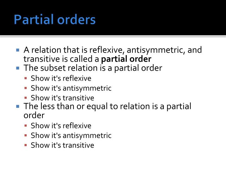 Partial orders