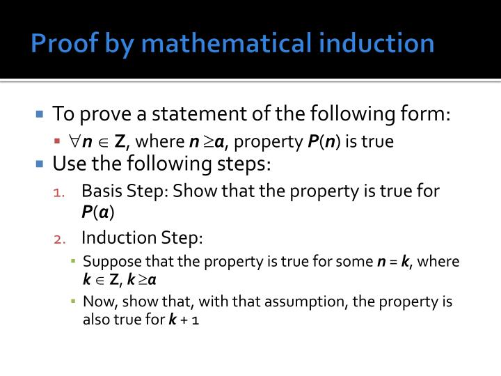Proof by mathematical induction