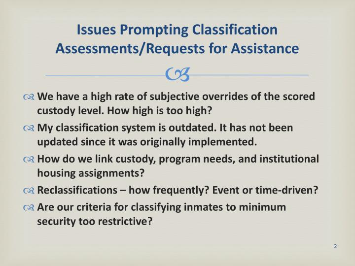 Issues prompting classification assessments requests for assistance