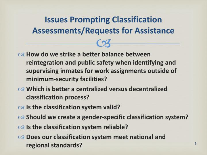 Issues prompting classification assessments requests for assistance1
