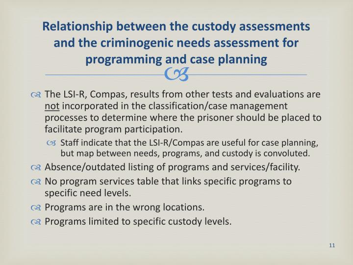 Relationship between the custody assessments and the criminogenic needs assessment for programming and case planning