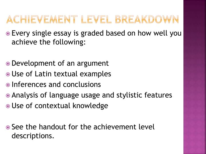 Achievement level breakdown