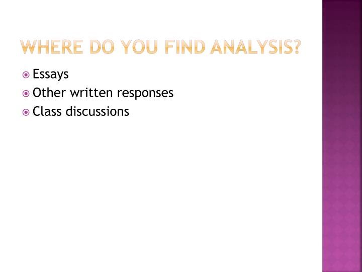 Where do you find analysis?