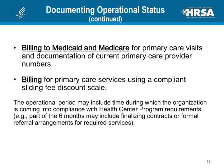 Documenting Operational Status