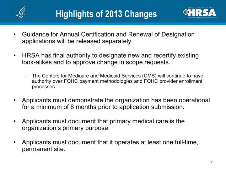 Highlights of 2013 Changes