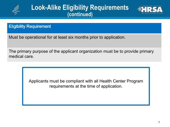 Look-Alike Eligibility Requirements